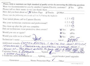 Customer comment card - 24445