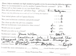 Customer comment card - 24652a