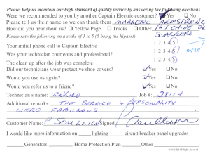 Customer comment card